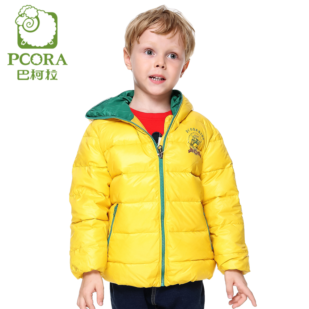 PCORA Kids Boys Down Coat Winter Thick Hooded Jackets Blue&amp;Yellow Zipper Closure Coat for 3T~14T Teens Children ClothingОдежда и ак�е��уары<br><br><br>Aliexpress