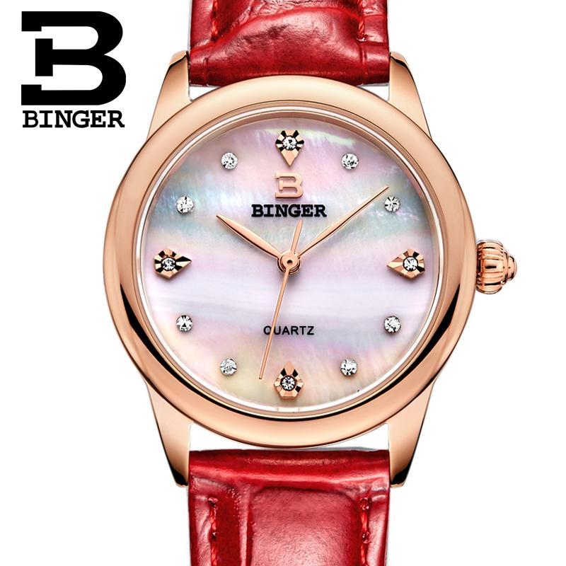 Switzerland Binger Womens watches luxury quartz waterproof clock 3 color available genuine leather strap Wristwatches BG9006-4<br>