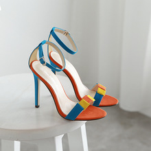 Genuine Leather Colorful Ladies Shoes Woman Shoes Platform Woman Pump High Heel Ankle Strap Women Wedding Shoes Size 35-40