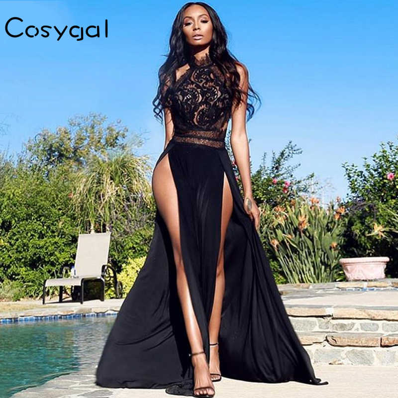 Detail Feedback Questions about COSYGAL Solid Long Maxi Dress Women Sexy  Side Split Sleeveless Lace Dresses Hollow Out Night Clubwear Club Female  Vestidos ... b0ff10d17fba