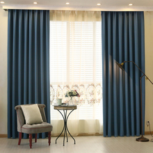 Higth quality modern style solid color faux plain linen Blackout curtains for living room window custom made(China)
