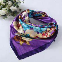 90cm*90cm 2017 Fashion Female Floral Print Scarf Women Polyester Scarf New Design Office Ladies Square Scarf/Shawl Women #1201
