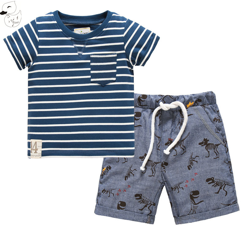 BINIDUCKLING Summer Style Children's Clothing Sets 2017 Short-Sleeve Striped T-shirt+Dinosaur Pants Baby Kids Sets 100% Cotton(China)