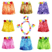 New Hula skirt Five piece suit  30CM Plastic Fibers Kid Grass Skirts Hula Skirt Hawaiian costumes Girl Dress Up Party Supplies