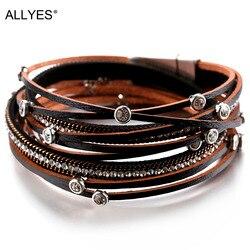 Женский многослойный кристаллический винтажный браслет