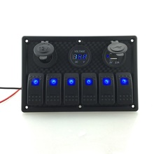 12V-24V DC 6 Gang Waterproof Marine Blue Led Switch Panel with Power Socket Voltmeter and Boat Bus Auto Car USB LED Light Switch