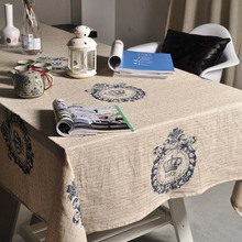 English Letters Crown Pattern Table Cloth Europe Vintage Retro Style Table Cloth Decor Linen Cotton Tablecloth