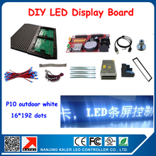 P10 white outdoor LED display screen unit board 16*192 pixels 24*200cm led signboard with all outdoor red led display components
