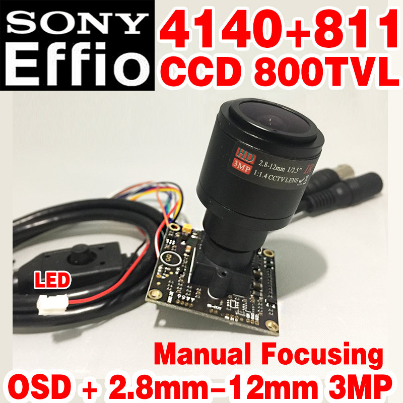 "High-End 1/3""Sony Sensor CCD Effio 4140+811 800tvl Analog hd Mini chip Monitor module 2.8mm-12mm Manual focusing OSD meun cable(China)"