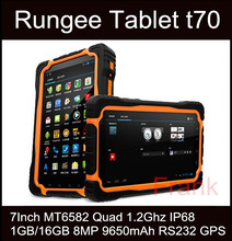 Original Rugee T70 Tablet PC 7Inch Cell Phone MT6582 Quad 1.2Ghz IP68 waterproof Shockproof 1GB/16GB 8MP 9650mAh RS232 GPS T71