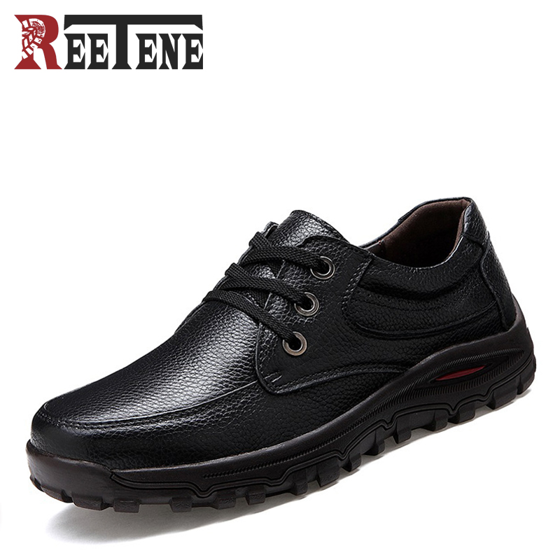 First Layer Of Cowhide Men Shoes Autumn Winter New Trend Business Shoe Low-cut Soft Bottom Casual Man Flats Plus Size 46 47 48<br>