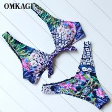 Buy OMKAGI Sexy Push Bikinis Set Swimsuit Swimwear Women's Swimming Bathing Suit Beachwear Brazilian Bikini 2017 News