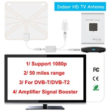 TV Antenna Indoor HD Digital TV Antenna with 35 Miles Long Range Amplifier HDTV Signal Booster Upgraded Version for DVB-T/DVB-T2(China)