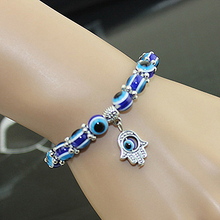 Hot Sale New Retro Vintage Handmade Hamsa Fatima Bangle Evil Eye Glass Beads DIY Elastic Bracelet for Unisex Jewelry Gift