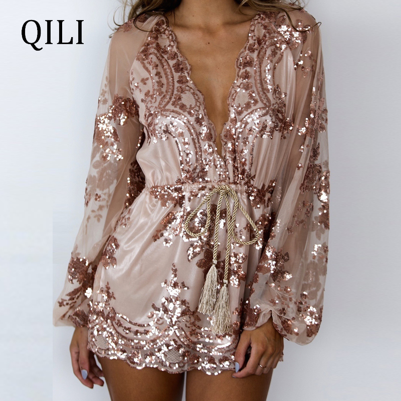 QILI Women Sexy Deep V-neck Sequin Jumpsuits Long Sleeve Rompers Elegant Fashion Playsuits Party Club Rompers With Belted