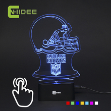 7 Color 3D Night Light for nfl Rugby Fans American Football Browns USB Led Lamp as Home Bedroom Besides Desk Light Lampara Libro