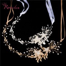 bridal Wedding Party jewelry Gold sliver Leaves Pearl Headbands Flower Head Piece Bride Vintage Hair bands RE587(China)