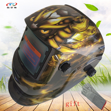 Welding Helmet auto darkening Printing solar and Battery welding Mask with gloves full face protect Mig Arc Tig HD34(2233DE)B(China)