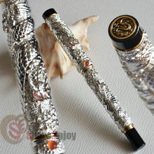 NOBLE JINHAO SILVER TWO DARAGON PLAY PEARL ROLLER BALL PEN CRYSTAL
