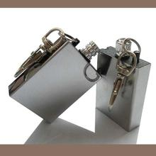 1 PCS New Stainless Steel Permanent Fire Starter Metal Match Lighter With key Ring Keyring Cigarette lighter