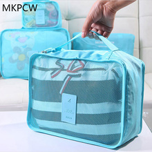 Nylon Packing Cube Travel Bag System Durable 6 Pieces One Set Large Capacity Of Bags Unisex Clothing Sorting Organize(China)