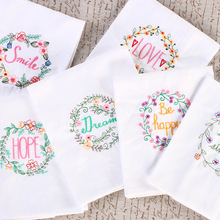 6pcs American country embroidered cloth napkins placemats cloth folded white cotton high-quality multi-purpose household fabric