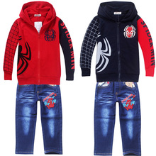 2016 Minnie Mouse Children Clothing Children's Wear Wholesale Factory Direct Batch Of Jeans + Jacket Spider Man Boy Suit 83066