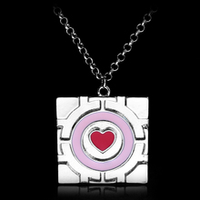 HEYu New Fashion Portal Necklace Companion Cube Necklace Cube Pendant Pink Heart Choker Necklace Jewelry