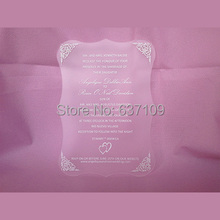 Frosted acrylic wedding invitation card silk screen letters scroll shape(China)