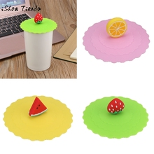 Hot Cute Fruit Lace Dust Reusable Silicone Cover Cup DIY Free Splicing Thermal Insulation Cup Seal Cover Lemon watermelon(China)