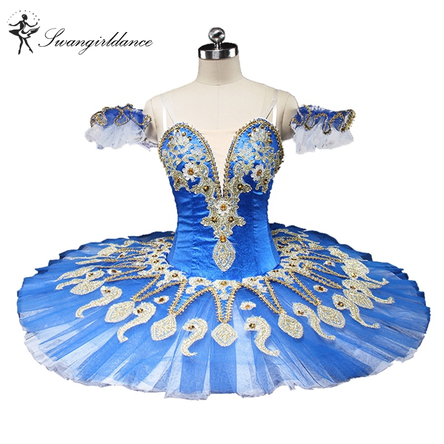 latest blue swan lake ballet tutu platter sugar plum fairy professional pancake ballet tutu blue bird BT9134C
