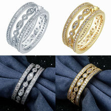3pcs Womens Fashion Wedding Engagement 18K Yellow Gold Micro Pave CZ Crystals 925 Sterling Silver White Gold Filled Ring Set
