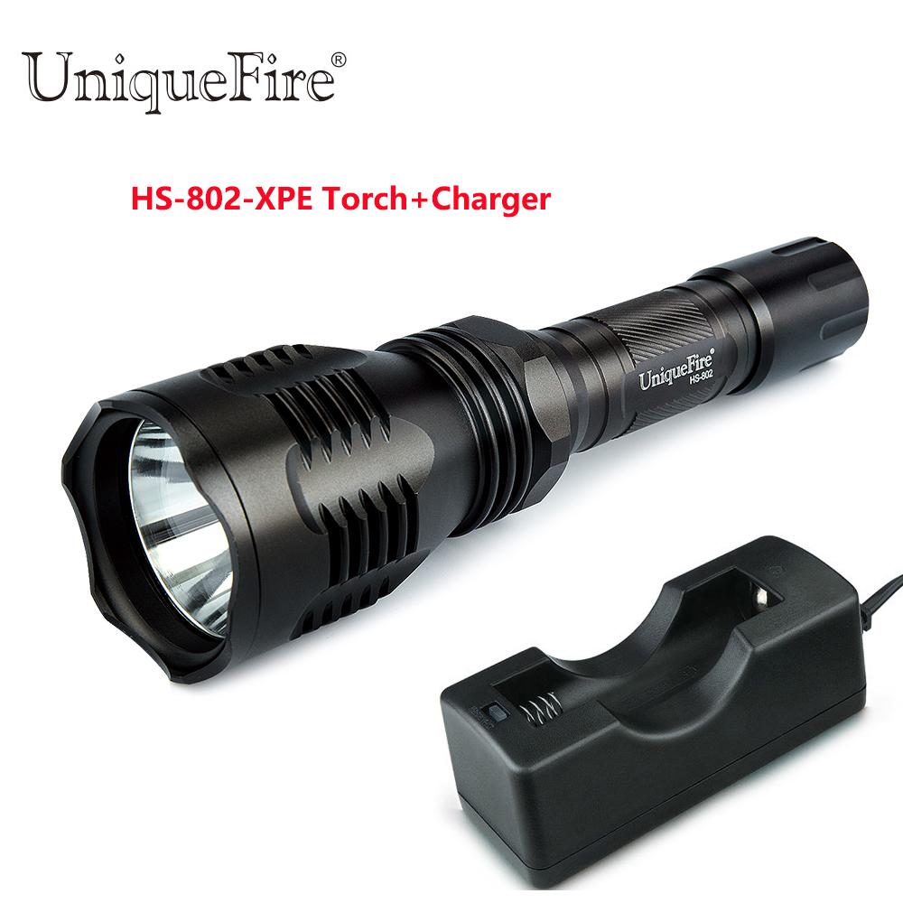 Uniquefire HS-802 Cree XPE Camping LED Flashlight 3 Modes IP65 Waterproof Lamp Torch(Glass Lens G/W/R Light)+18650 Charger<br>