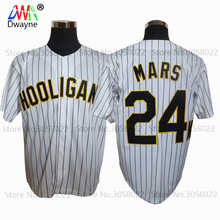 Bruno Mars 24K Hooligans White #20 Pinstriped BET Awards Baseball Jersey Throwback For Men Stripe Stitched Button Down Glod Edge