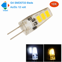 Viewi 10x g4 led bulb 12v crystal chandelier lighting smd5733 6 leds Ac/Dc12 volt mini light bulbs for home energy saving lampa(China)