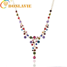 BONLAVIE 1 Piece Austria Rhinestone Pendant Tassel Necklace Women Multicolored Design Wholesale Round Beads Brand Gift Bijoux