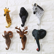 Vintage Wall Decorative Hook Animal Rhino Horse Giraffe Elephant Head Design Hanger Rack for Key Hats Home Craft