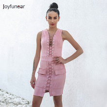 Joyfunear Top Fashion Women Sexy V-neck Slim Solid Dress High Quality Straight Faux Suede Dresses sleeveless Hem Package Sued(China)