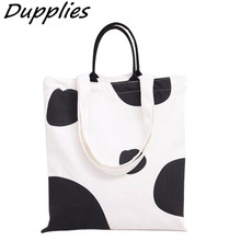Dupplies Ladies Handbag Casual Cow Pattern Shoulder Bags Women Daily Use Canvas Tote Shopping Bag