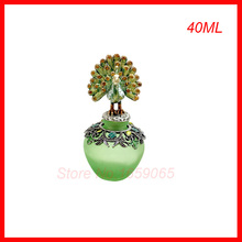 40ML Glass&Metal Antiqued Style Retro peacock&Flower colour enamels  Refillable Empty Perfume Container  Decoration Bottle