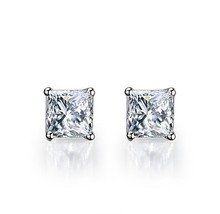 1CT/Piece Princess Cut Earrings 925 Lovely Diamond Stud Earrings For Women Sterling Silver Jewelry 18K White Gold Cover(China)