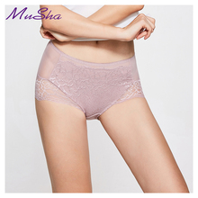 Buy Hot sale! women women's sexy lace panties seamless cotton breathable Hollow briefs Plus Size girl mid-rise underwear