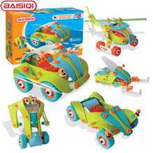 145pcs 5-in-1 Science&education toy for Pupil boy girl Designer Robot Snowmobil Super Car Helicopter disassembly assembly puzzle