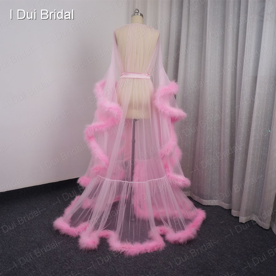 Pink Feather Bridal Robe Tulle Illusion Long Wedding Scarf New ...