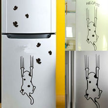 Home Decor Cat Pattern Furniture Glass Stickers Refrigerator Kitchen Cabinet Wall Stickers(China)