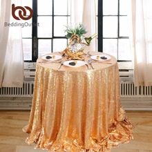 BeddingOutlet Orange Sequin Tablecloth Thanksgiving Table Cloth Wedding Decoration Sparkly Bling Table Cover For Christmas Party