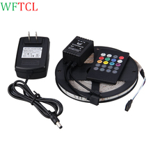 WFTCL Tiras de LED 5M 300LED SMD3528 RGB LED Strip Light Kit with 20key Music Sound Sense IR Controller and Power Supply adapter