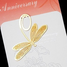 20pcs/set Vintage Bookmarks Cartoon Dragonfly plated 18K gold stainless steel Share tab for books metal bookends gift