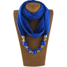 2017 Fashion 10 Colors Neckerchief Unique Cotton Scarf Necklaces Beads Statement Maxi Necklace Women Muffler Neckerchief Bijoux