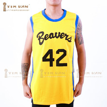 TIM VAN STEENBERGE Movies Of Michael J Fox Teen Wolf Jersey Howard 42 Movie Basketball Jersey Stitched Sewn-Yellow(China)